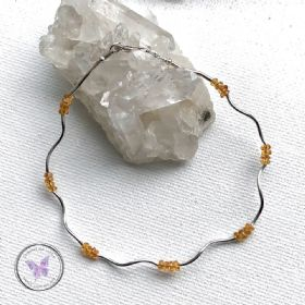 Natural Yellow Sapphire Silver Tube Bracelet